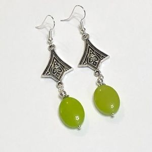 Long Lime Green Jade & Tibetan Silver Earrings